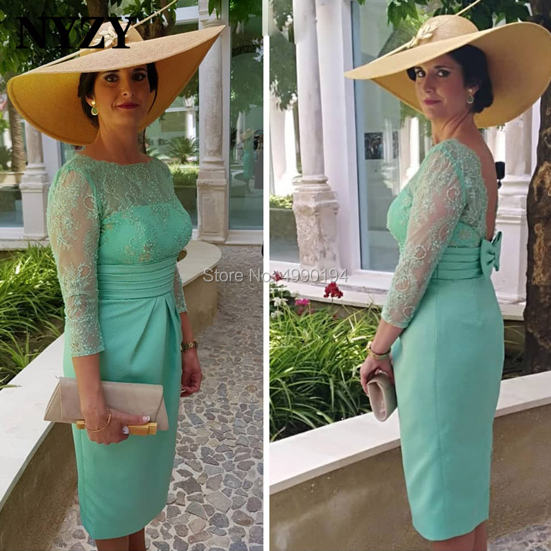 Aqua Satin 3/4 Lace Sleeves Short Mother Of The Bride Groom Dresses NYZY C214 Wedding Party Formal Dress Robe Soiree 2019