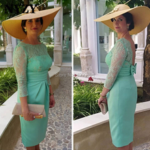 Aqua Satin 3/4 Lace Sleeves Short Mother of the Bride Groom