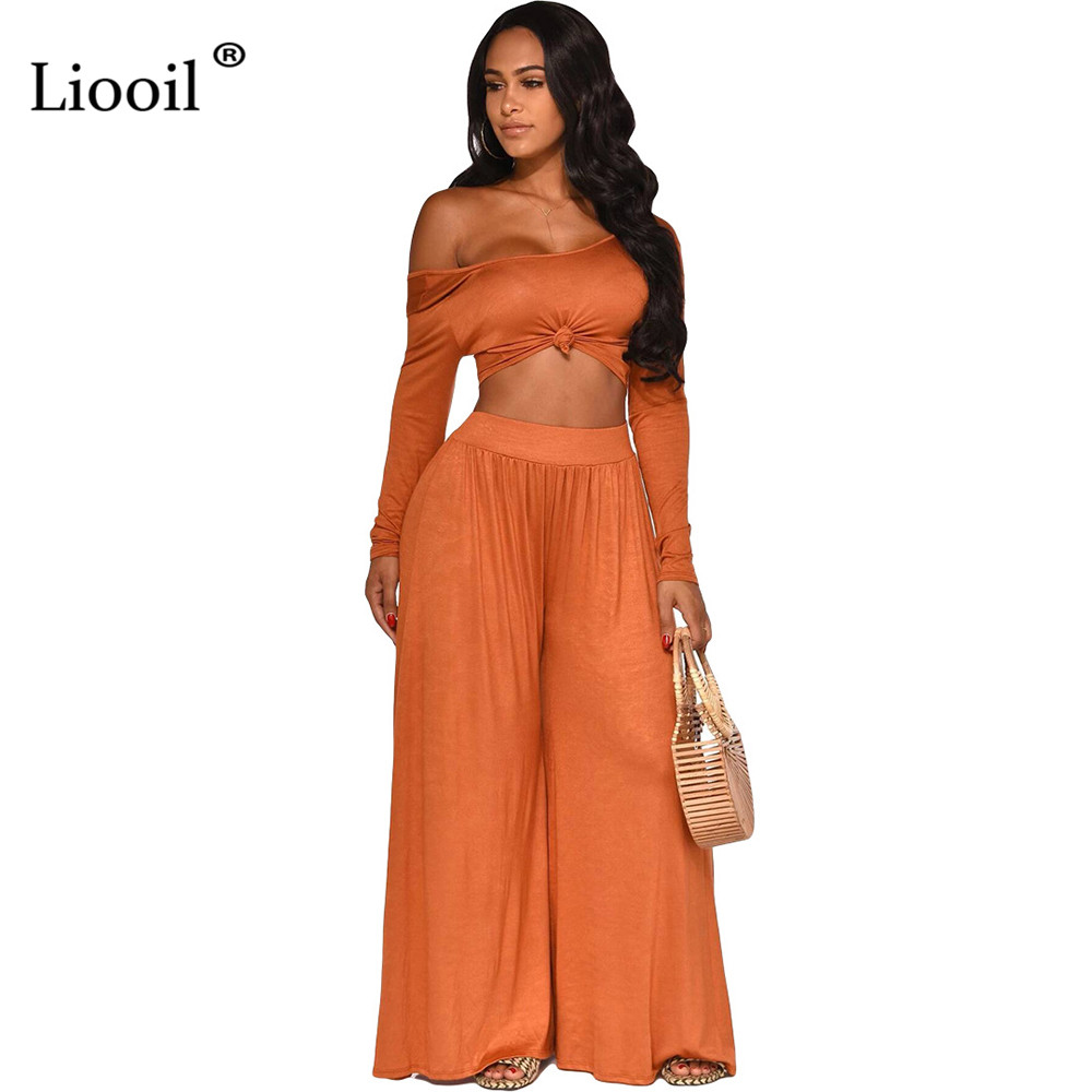 Liooil Off One Shoulder Two Piece Set Women Club Outfits Fall 2019 Long Sleeve Sexy Crop Top And High Waist Wide Leg Long Pants
