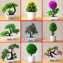Potted-Ornaments Bonsai Tree-Pot Plants Garden-Decor Fake-Flowers Small 1PC for Hotel