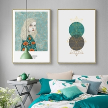 Nordic Sunshine Girl Art Of Geometry Canvas Painting Wall Picture Living Room Home Decor cuadros