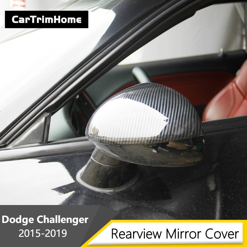 For Dodge Challenger Accessories Car Sticker Rearview Mirror Side Decal Stripe Carbon Fiber Design