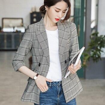 Women's suit coat sports jacket jacket jacket casual suit coat Korean version slim double breasted Blazer windbreaker coat цена 2017