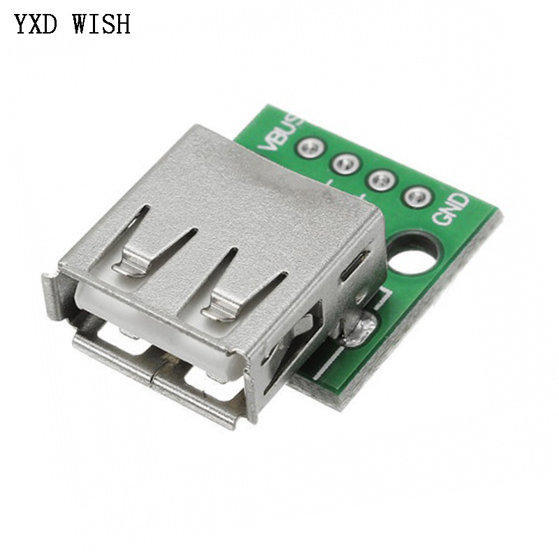 10 Uds tipo A hembra USB A DIP 2,54 MM adaptador de placa Tipo PCI convertidor Usb hembra conector de 4 pines para conectores de cable de teléfono móvil