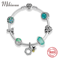Letter T Life Tree CZ Crystal Charm 925 Sterling Silver Finished Bracelet Bangles Flower Glass Bead Bee Pendant Bracelet Jewelry