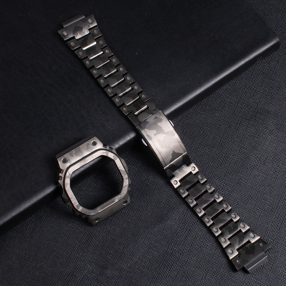 316L Stainless Steels Camouflage Watch Strap For DW-5600 GW-5600 DW5000/5035 Antique Watch Case Bezel For GW-M5610 Watch Band