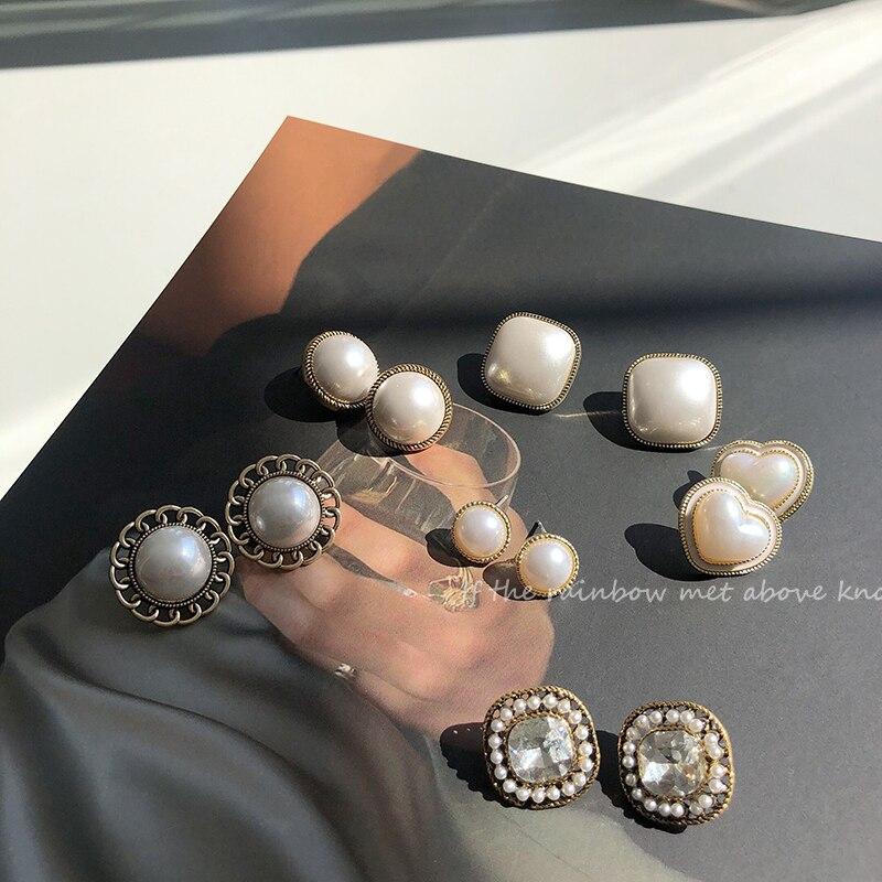 Fransız Vintage barok yuvarlak İnci saplama küpe kadın kore zirkon bildirimi vida geri küpe moda takı hediyeler Brincos