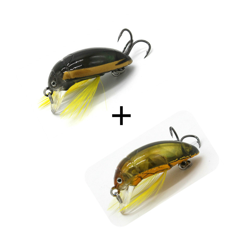 2PCS 35mm Insect Lure Fishing Bait Bass Cicada Iscas Artificiais Floating Hard Lure Bass Pike Lure Walleye Bait Trout Plastic