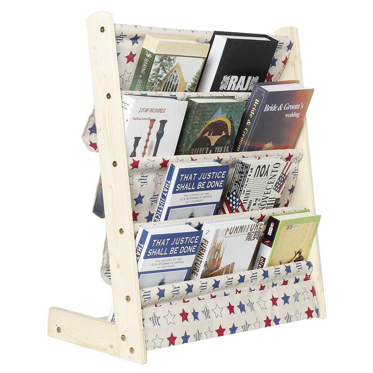 5/7 Tiers Kids Wooden Bookshelf Storage Racks Bookcase Display Organizer Holder Children Bookshelf Home Decorations