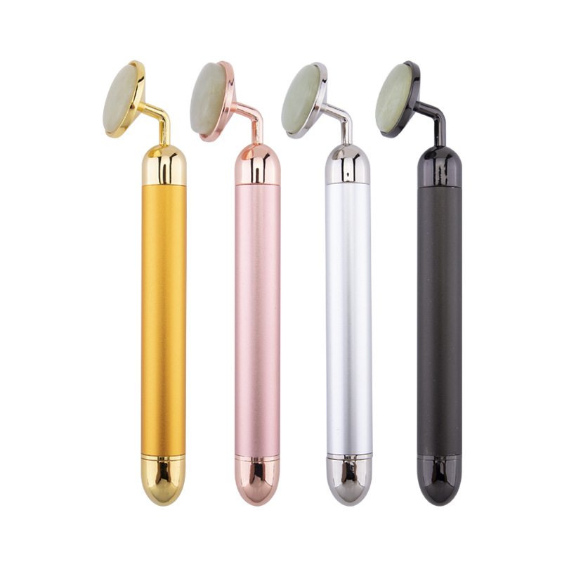 24k Beauty Bar Electronic Facial Jade Roller Vibrating Massager For Face Lifting Anti-aging Cheeks Skin Tightening Care Machine