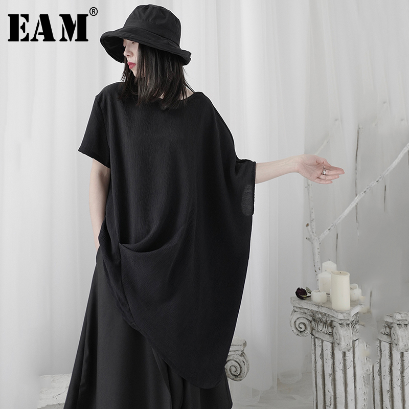 [EAM] Women Black Irreuglar Big Size Long T shirt New Round Neck Three quarter Sleeve Fashion Tide Spring Summer 2021 1U364|T-Shirts| - AliExpress
