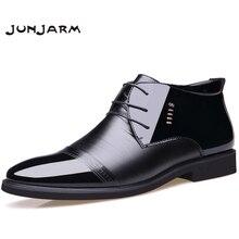 Купить с кэшбэком JUNJARM New Designer Men Boots Microfiber Men Winter Shoes Wool Inside Warm Snow Shoes Black Man Leather Ankle Boots