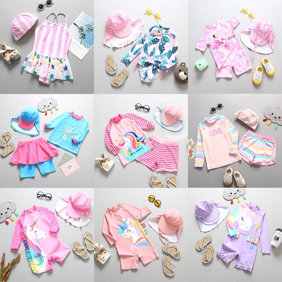 Бикини для девочек с принтом Фламинго единорога, детский купальник для девочек с защитой от солнца и УФ-лучей, 2020, летняя пляжная одежда, дет...