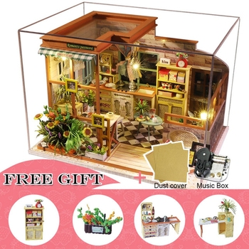 Doll House Furniture Diy Miniature Dust Cover 3D Wooden Miniaturas Dollhouse Toys for Children Birthday CHRISTMAS Gifts casa A04 doll house furniture diy miniature dust cover 3d wooden miniaturas dollhouse toys cat children birthday gifts kitten diary