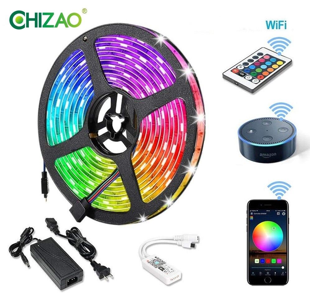 CHIZAO wifi LED bande lumières Alexa téléphone App 24 clé à distance SMD 5050 5M coloré musique intelligente son activer étanche décor à la maison