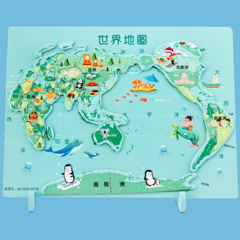 Wooden World Map Jigsaw Puzzle Toys Children's Puzzle Jigsaw Kids Cognitive Baby Early Education Puzzle Gift Box Baby Toy kids creative wooden puzzle iron box kindergarten baby early education cartoon animal traffic puzzle cognitive interactive game