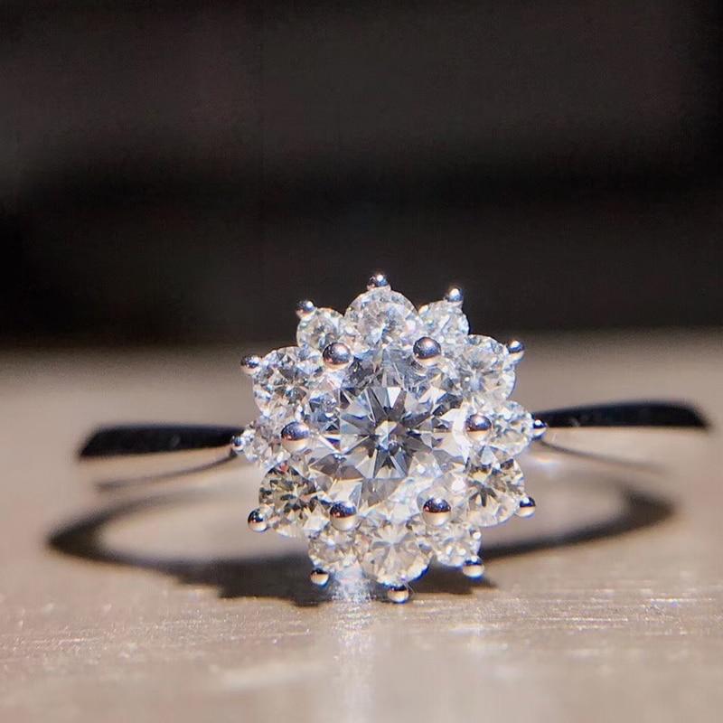 AEAW 0.3Carat 4mm Round Cut Flower Engagement&Wedding Natural Real Diamond Ring Halo Ring Genuine 18K White Gold