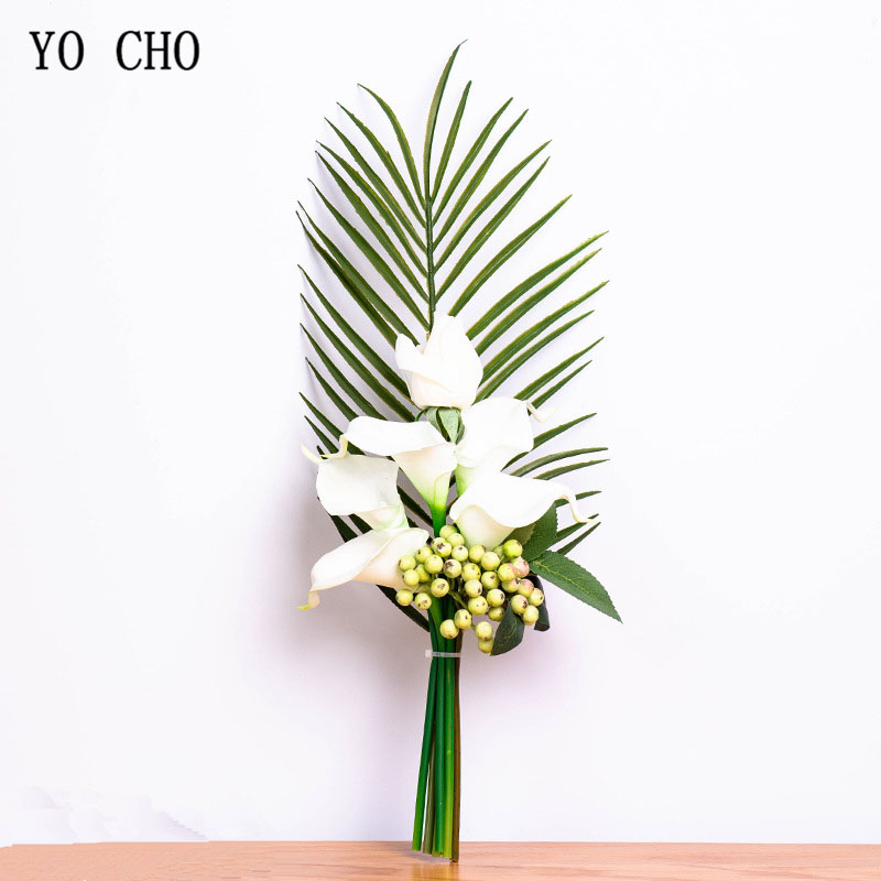YO CHO Bride Wedding Bouquet Artificial Silk Rose Calla Lily Flower Fake Eucalyptus Leaf Bridesmaid White Bouquet Home Decor