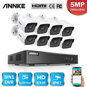 Image 1 - ANNKE 8CH 5MP לייט וידאו מצלמות מעקב מערכת 5IN1 H.265 + DVR עם 8PCS 5MP Bullet עמיד אבטחת מצלמות ערכת טלוויזיה במעגל סגור