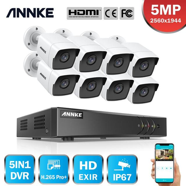 ANNKE 8CH 5MP לייט וידאו מצלמות מעקב מערכת 5IN1 H.265 + DVR עם 8PCS 5MP Bullet עמיד אבטחת מצלמות ערכת טלוויזיה במעגל סגור