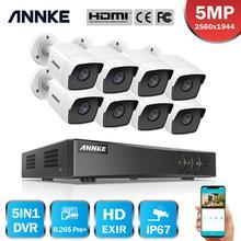 ANNKE sistema de cámaras de videovigilancia 8 canales, 5MP Lite, 5 en 1, H.265 + DVR, 8 Uds., cámara de seguridad de 5MP, resistente a la intemperie, Kit CCTV