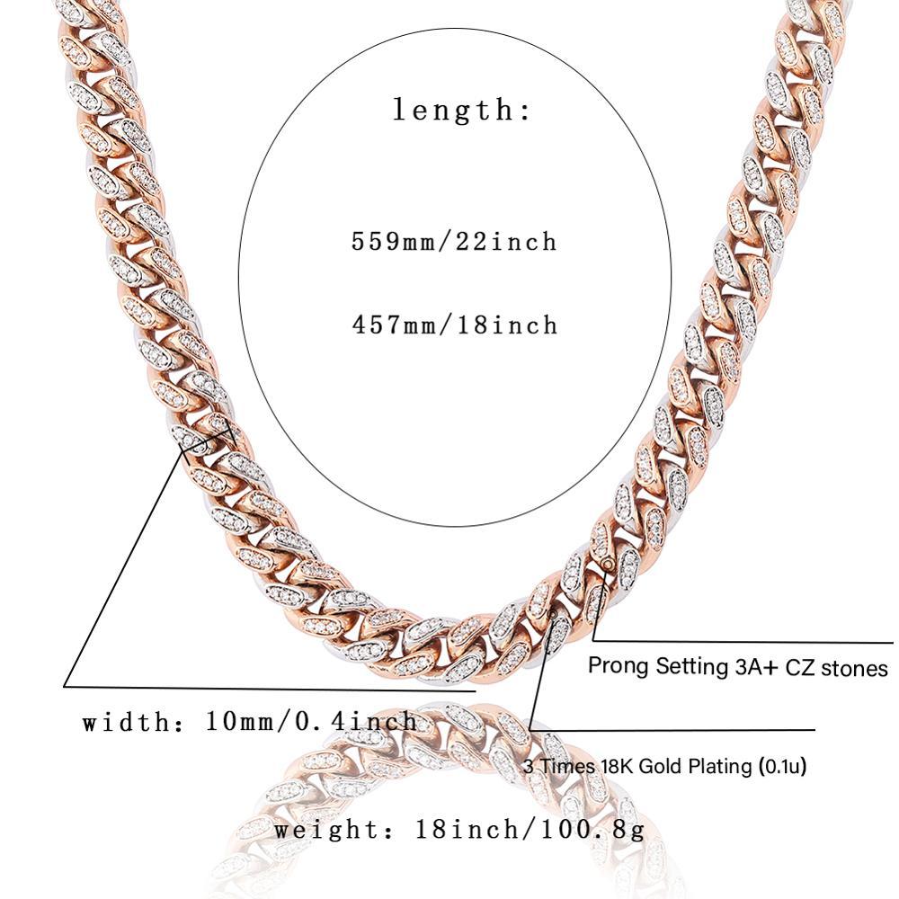 JINAO Miami 10mm or argent couleur cubique Zircon chaîne cubaine breloque collier pour hommes Micro Pave Hip Hop bijoux à la mode cadeaux - 6
