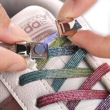 Elastyczne sznurowadła magnetyczne bez konieczności wiązania sznurówki z magnesem nowe wyjątkowe kreatywne nie trzeba wiązań dla dzieci dorosłych unisex do trampek do butów tanie i dobre opinie YuanXiangZhu Stałe Magnetic shoelace T9-3 Poliester 100cm 0 7cm 0 2cm No Tie shoelace Elastic Locking ShoeLace Colorful shoelace