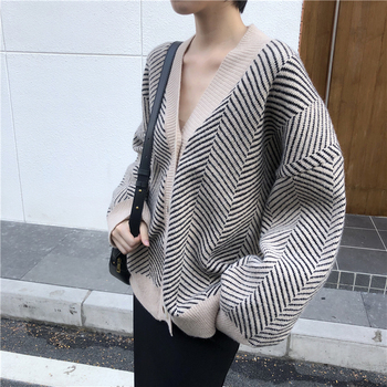 Ailegogo 2020 Women's Knitwear Autumn Winter  Striped Casual V-Neck Cardigans Button Cardigan Loose Korean Sweaters SWC3033 4