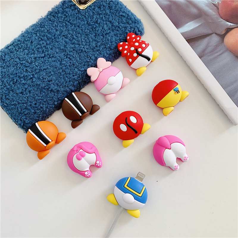 Cute Cartoon Cable Protector Data Line Cord Protector Protective Case Cable Winder Cover for iPhone USB Charging Cable Protector