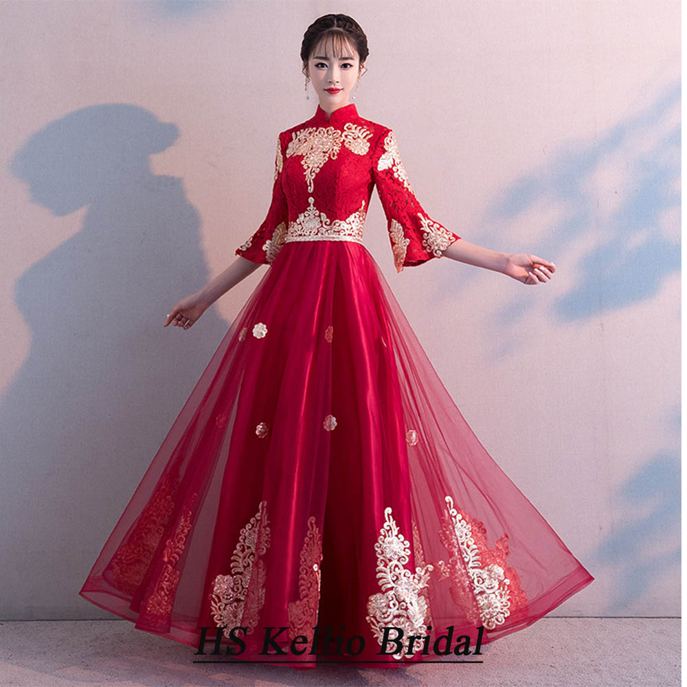 Fashionable   Bridesmaid     Dress   Puff Sleeves Burgundy Chinese Traditional Wedding Toasting   Dress   Lace Appliques