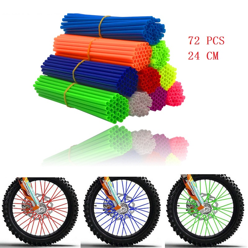 perfk 72Pcs Universal Motocross Wheel Rim Spoke Wraps Skins Cover Green//Black