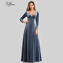 Sexy Velvet Maxi Dress Full Sleeve A Line Deep V Neck Lace Back Dusty Blue Autumn Women Dress Elegant Party Gowns Ropa Mujer