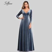 Sexy velours Maxi robe à manches longues a ligne profonde col en v dentelle dos poussiéreux bleu automne femmes robe élégante robes de soirée Ropa Mujer