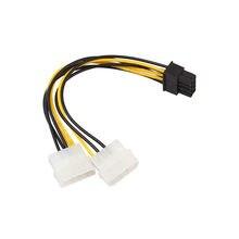 Carprie novo 18cm duplo molex lp4 4 pino para 8 pinos pci-e express conversor adaptador cabo de alimentação cabo de cabo de computador conectores de cabo 18cm