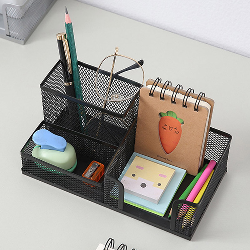 Metal Desktop Pen Holder Office Storage Box Pencil Desk Mesh Organizer VH99