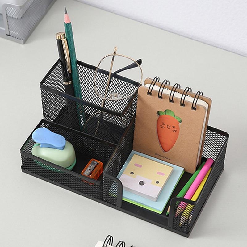 Metal Desktop Pen Holder Office Storage Box Pencil Desk Mesh Organizer VH99