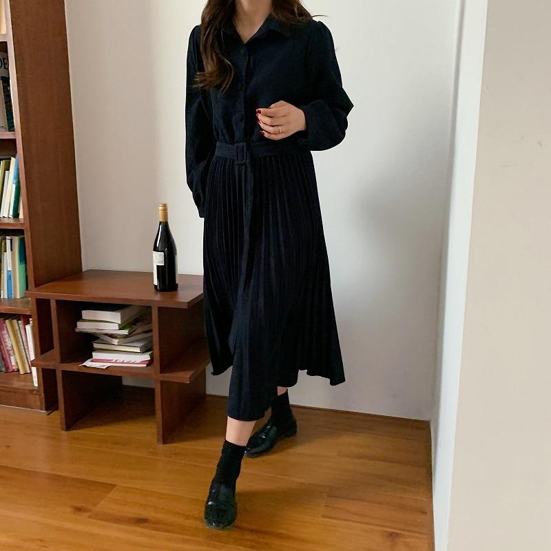 H17c7e07bd92c44ff854029b7aaafb211Y - Autumn Turn-Down Collar Long Sleeves Pleated Solid Midi Dress