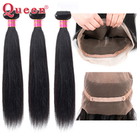 Brazilian Straight Hair Bundles With 360 Lace Frontal Closure Queen Hair 3 Bundles With 360 Closure Remy Natural Black Hair