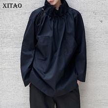 XITAO – sweat-shirt uni avec poches et cordon de serrage pour femmes, décontracté, à la mode, nouveau Style, tempérament, col montant, collection automne 2020, DZL2202