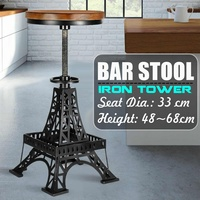 NEW Vintage Metal Industrial Bar Chairs Height Adjustable Swivel Pinewood Top Kitchen Dining Chair Barstool Bar Chairs