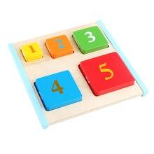 Цветной номер блок распознать головоломки деревянные игрушки форма обучения доска цвет изучение цифр Игрушки для малышей игрушка часы