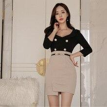 Black Package Hip Wrap Dress Women Three-quarter Sleeve V-neck Double Button Korean Corset Mini Club Ladies