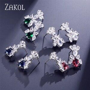 Image 4 - ZAKOL Luxury Women Jewelry Sets Flower Pave Zircon Necklace Earrings Set Clear Jewelry For Bride Wedding Dinner Dress FSSP296
