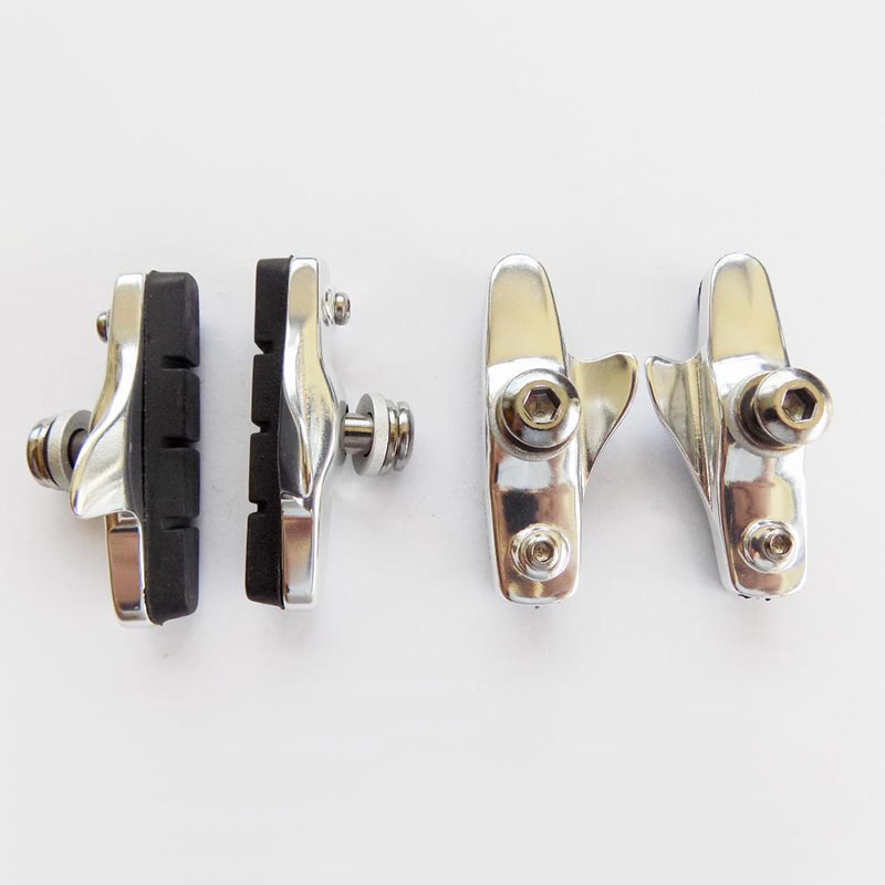 2 Pairs Road Bike Brake Blocks Pads Shoes Bicycle Racing Caliper Metal Durable