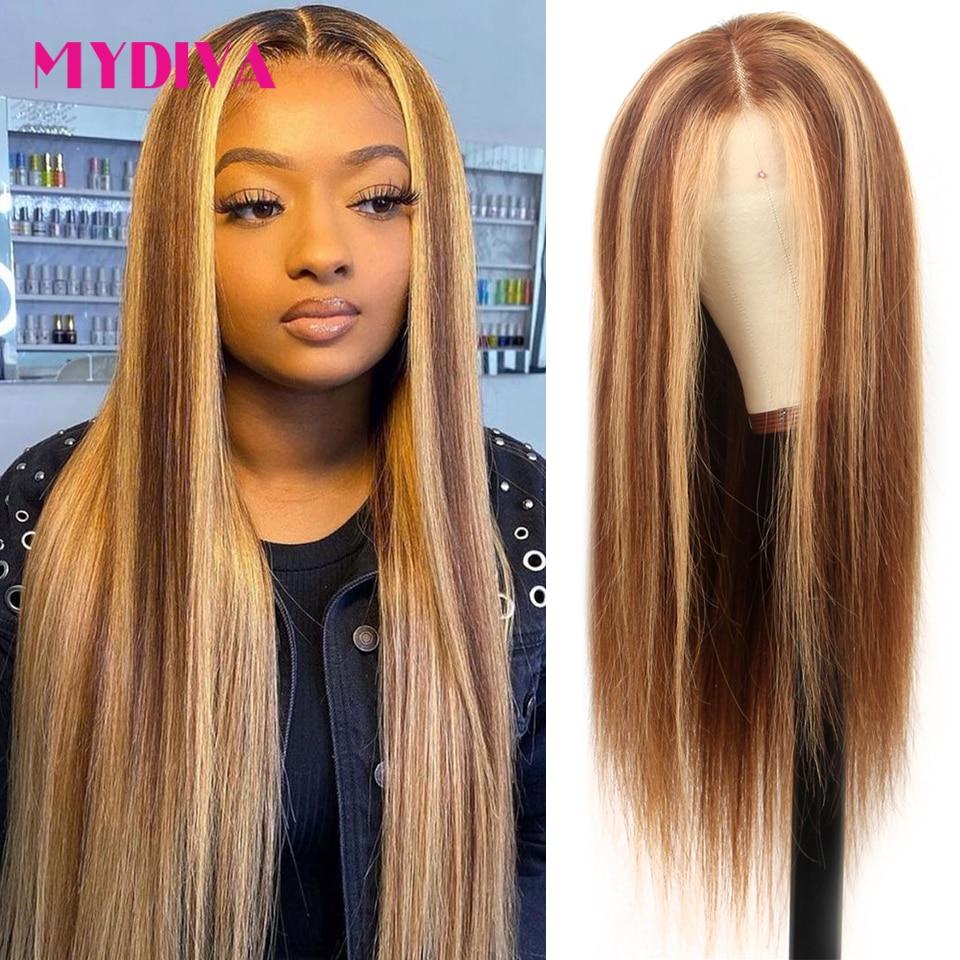 Выделите парик человеческих волос Цветной прямые Синтетические волосы на кружеве парик предварительно вырезанные 13x1 P4/27 эффектом деграде (...