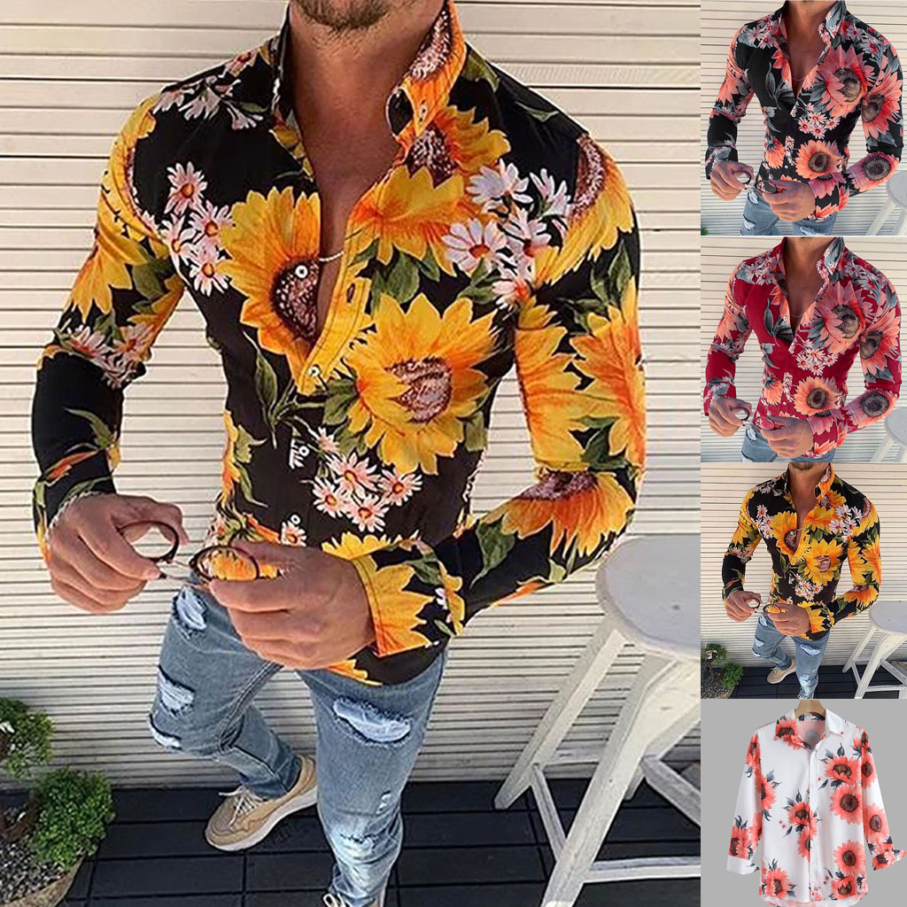 New Men's Floral Shirt Long Sleeve Casual Shirt Fashion Sunflower 3D Printed Turn-down Collar Slim Fit Shirt For Mens Clothing
