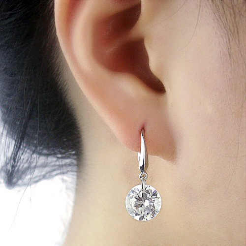 Earring Charm 2019 New Korean Version Of The Popular Fashion Cute Shiny White Crystal Earrings Women's Jewelry Sales Punk