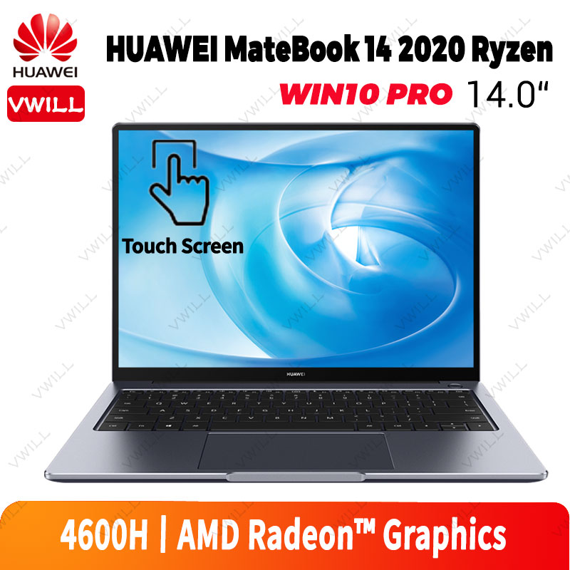 Ноутбук HUAWEI MateBook 14, 2020 дюйма, сенсорный экран 2K, 7 нм, процессор AMD Ryzen R5 R7, 16 ГБ DDR4, 512 Гб SSD, Windows 10 Pro, английский язык