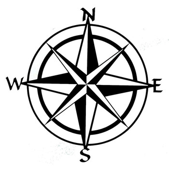Car Styling Compass Travel Wanderlust Direction NSWE Car Stickers for Volkswagen toyota bmw benz audi mazda skoda cruze image