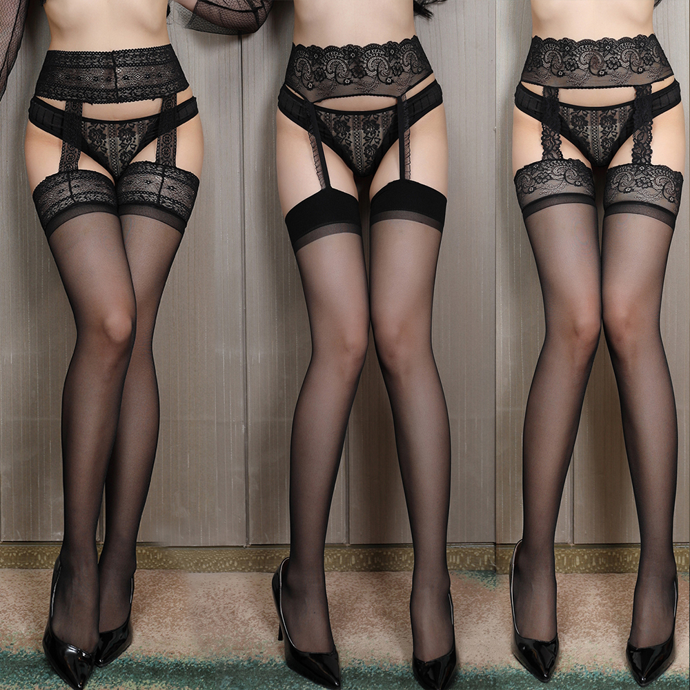 Sexy Stocking Lace Soft Top Thigh High Stockings + Suspender Garter Belt Lingerie Women